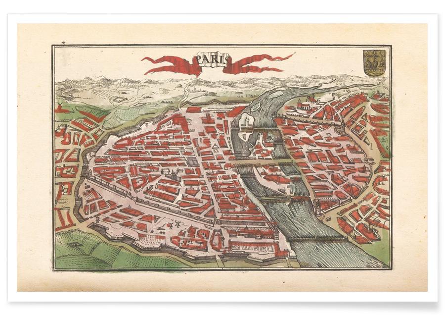 Paris, France, 1735 Map Poster