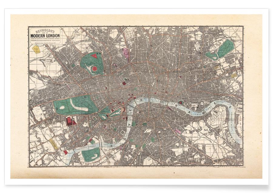 Vintage London, England Map Poster