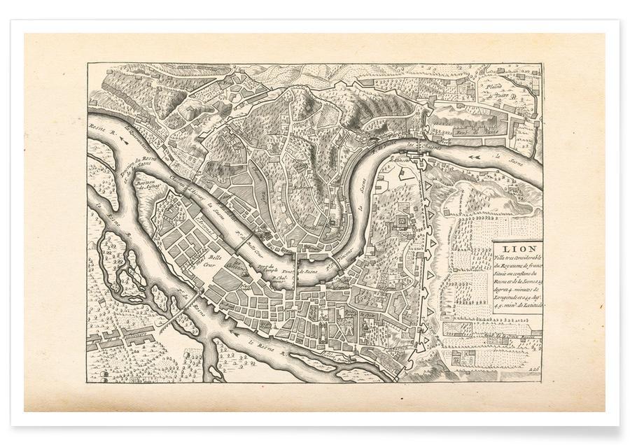 Lyon, Lyon, France, 1702 Map Poster