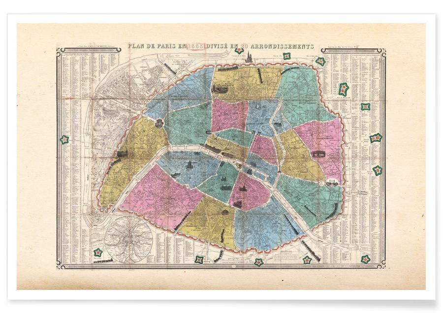 Paris, Henriot Paris, Frankreich-Karte -Poster