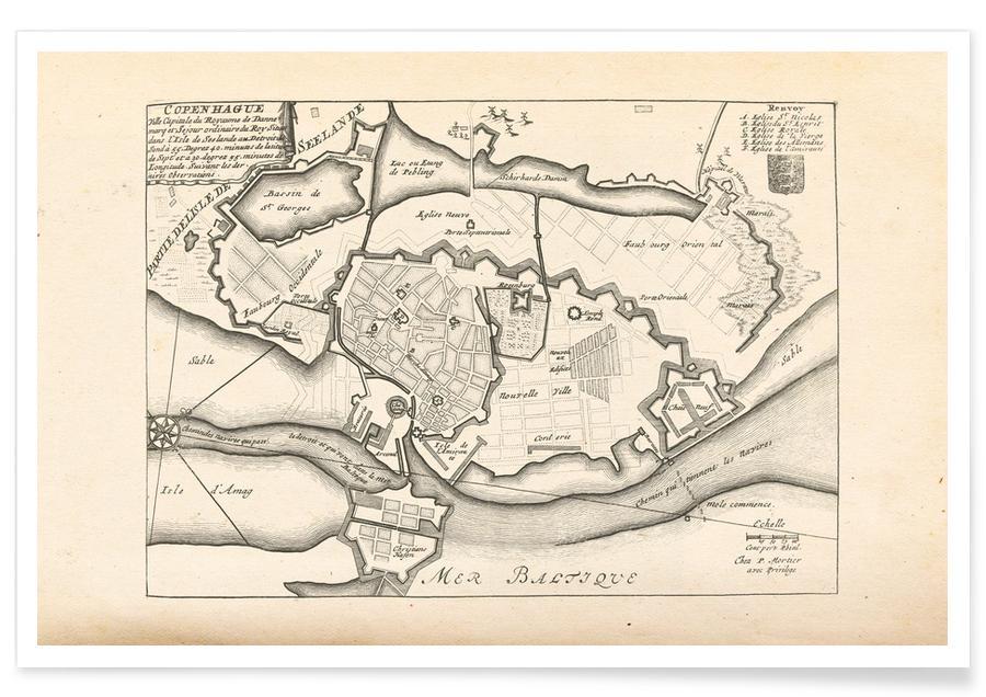 Copenhagen, Copenhagen, Denmark, 1726 Map Poster