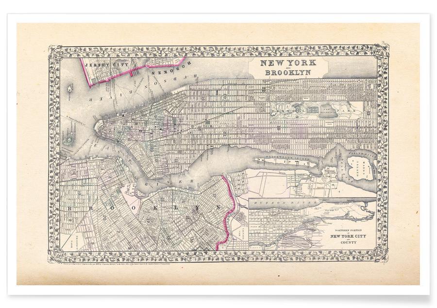 New York, Mitchell New York City Map Poster