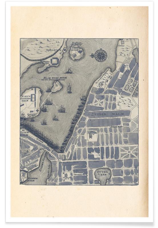 Stockholm, Stockholm, Schweden, 1735-Stadtkarte -Poster