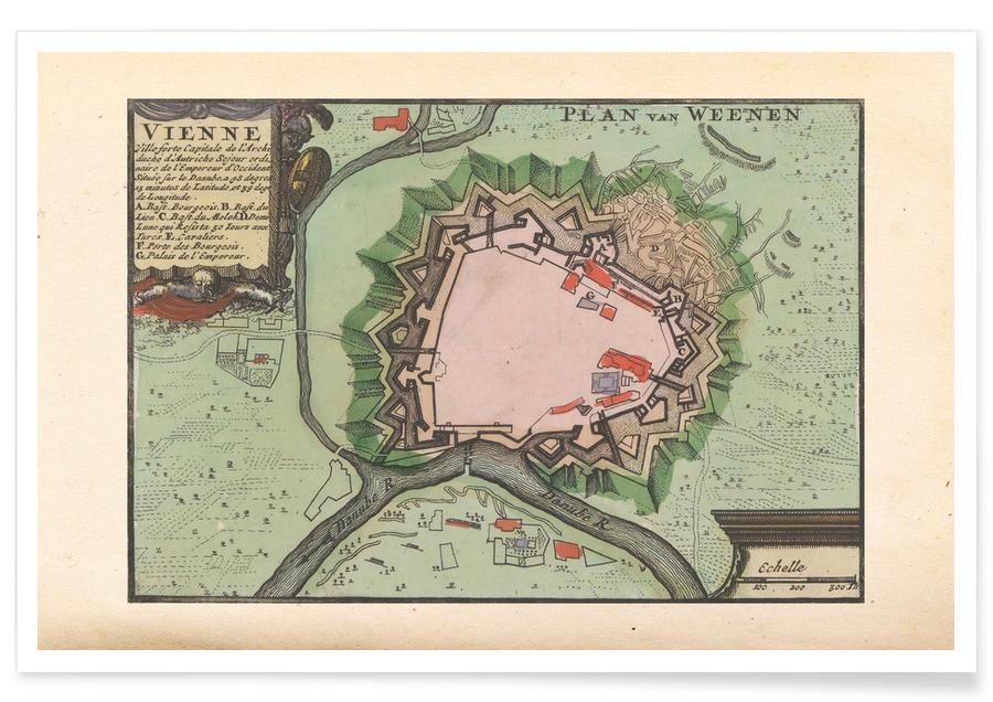 Wien, Österreich, 1735-Stadtkarte -Poster