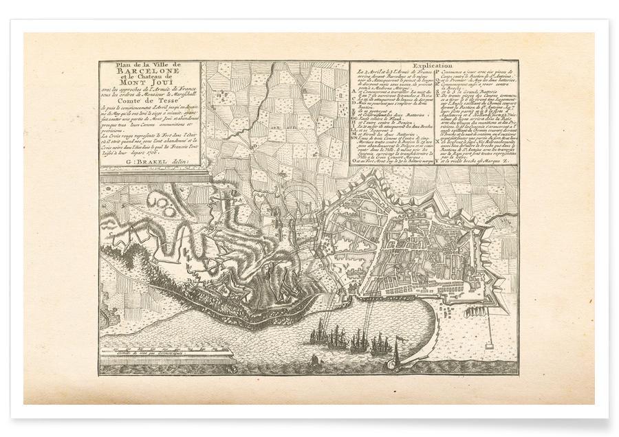 Barcelona, Barcelona, Spanje, 1706 - stadskaart poster