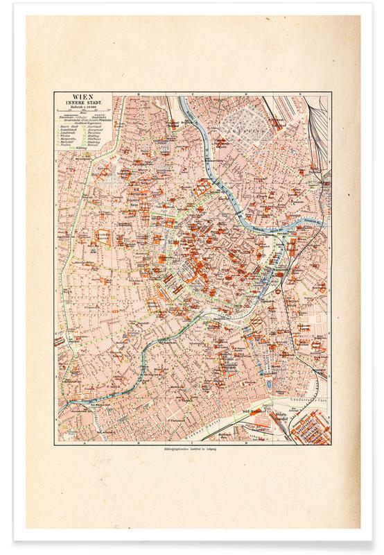 Vienne, Carte de Vienne, Autriche, 1899 affiche