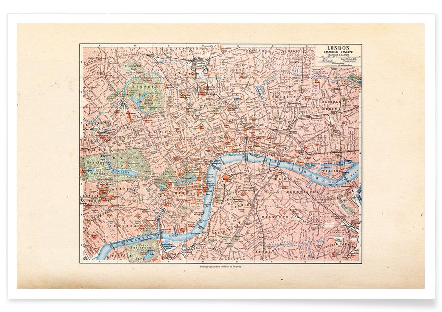 London, United Kingdom, 1899 Map Poster
