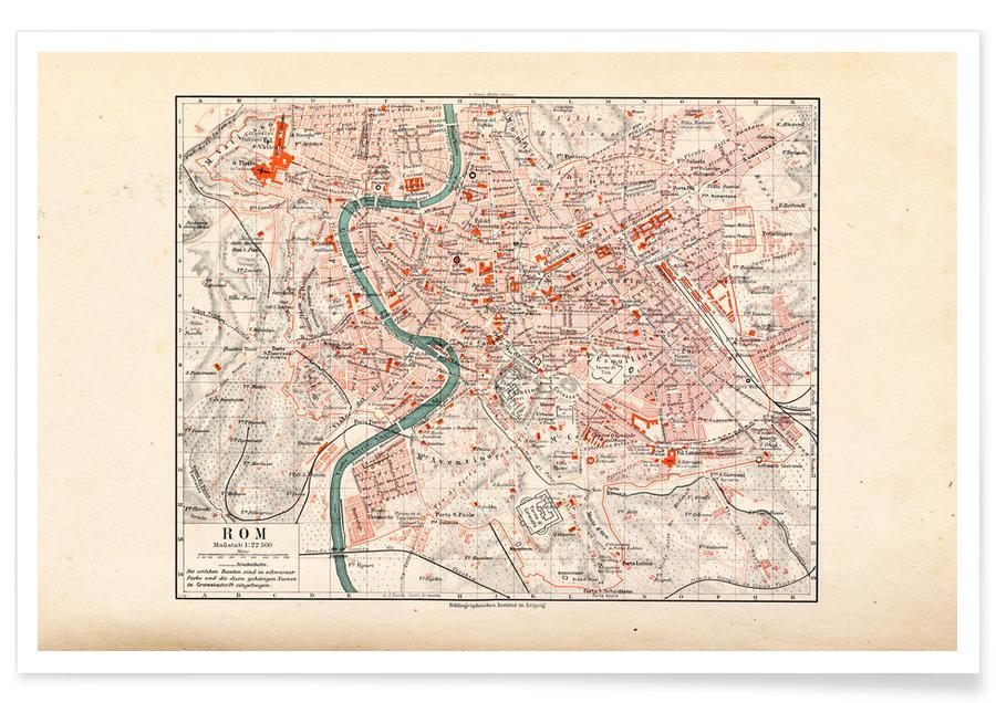 Rome, Carte de Rome, Italie, 1899 affiche