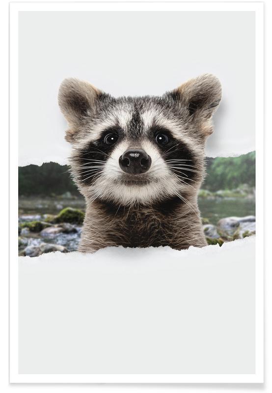 Art pour enfants, Raccoon Torn Paper affiche