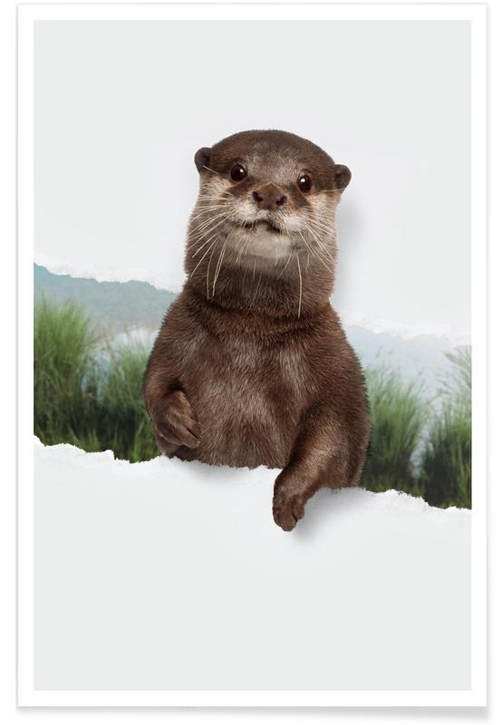 Art pour enfants, Otter Torn Paper affiche