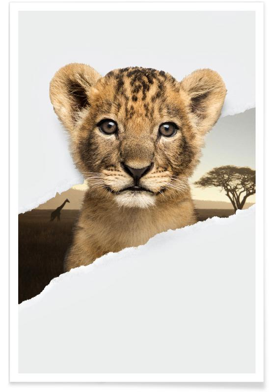 Art pour enfants, Lion Cub Torn Paper affiche