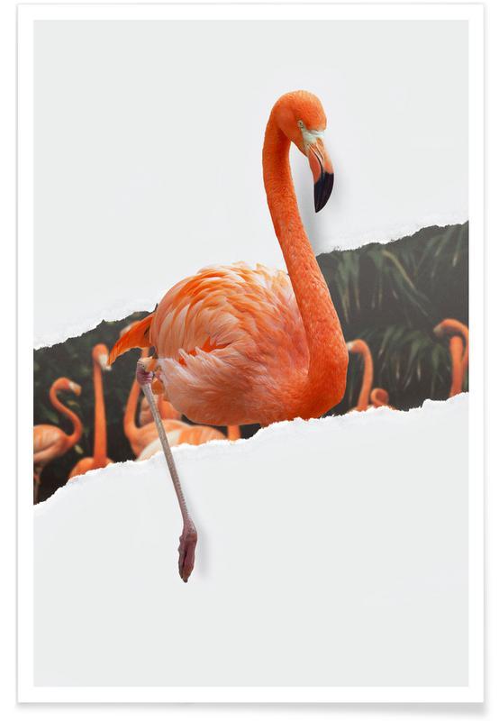 Art pour enfants, Flamingo Torn Paper affiche