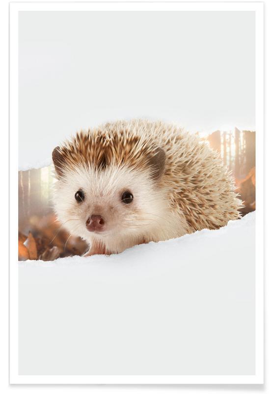 Art pour enfants, Hedgehog Torn Paper affiche