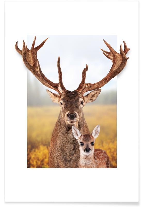 Herten, Kunst voor kinderen, DEER FAMILY poster