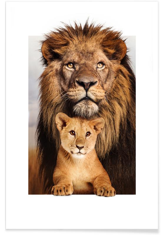 Børneværelse & kunst for børn, Løver, LION FAMILY Plakat