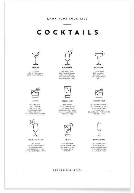Noir & blanc, Carte des cocktails affiche