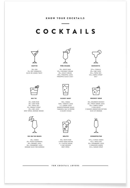 Cocktail-Tabelle -Poster