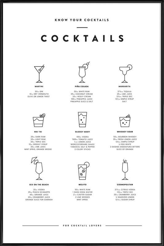 Cocktail chart ingelijste poster