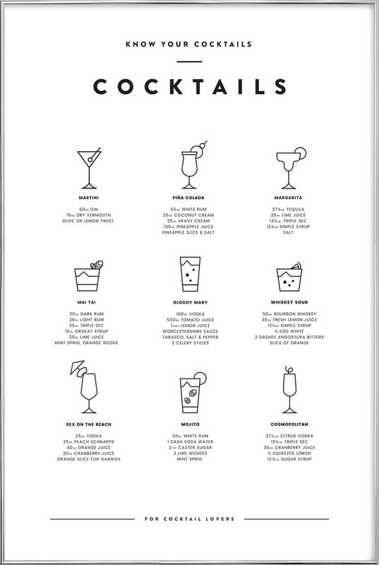 Cocktail chart poster in aluminium lijst