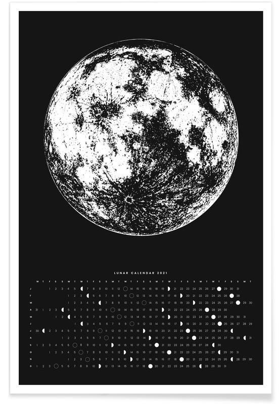 Sort & hvidt, Moon calendar black Plakat