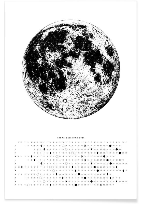Moon calendar white Poster