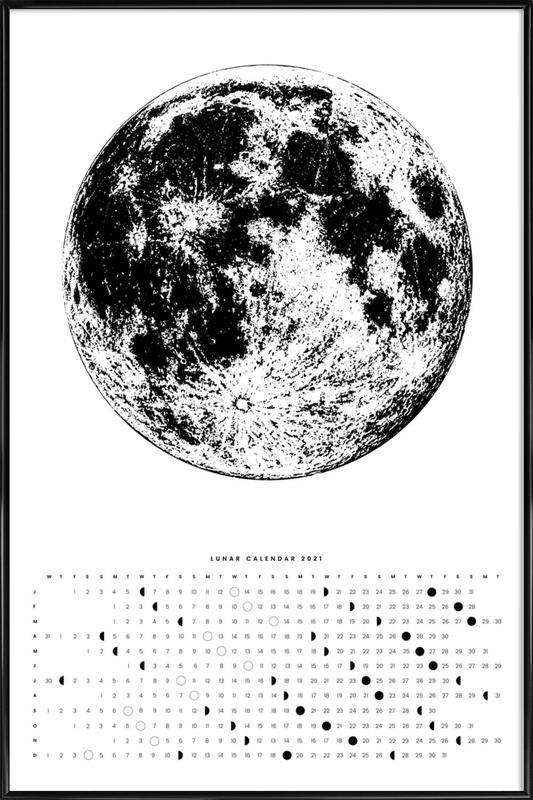 Moon calendar white -Bild mit Kunststoffrahmen