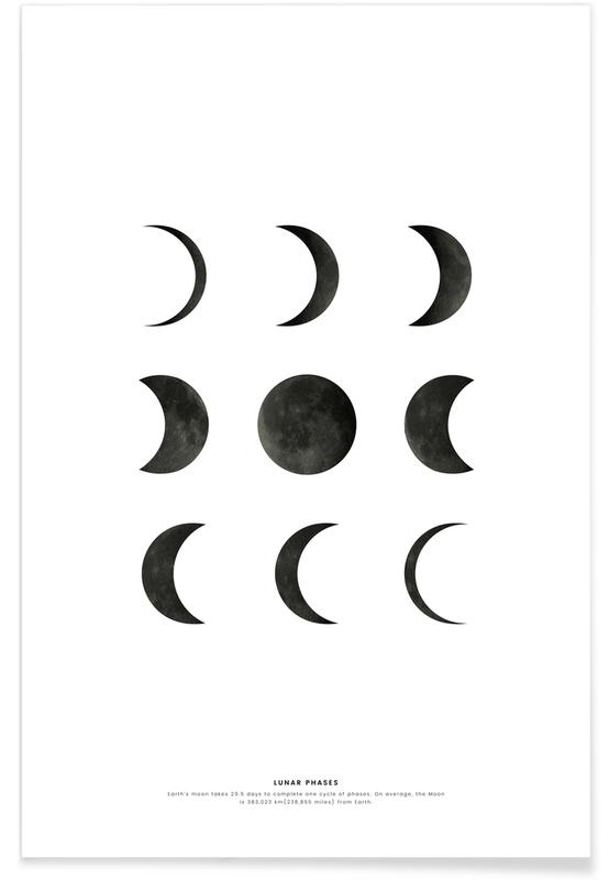 Blanco y negro, Lunar phases póster