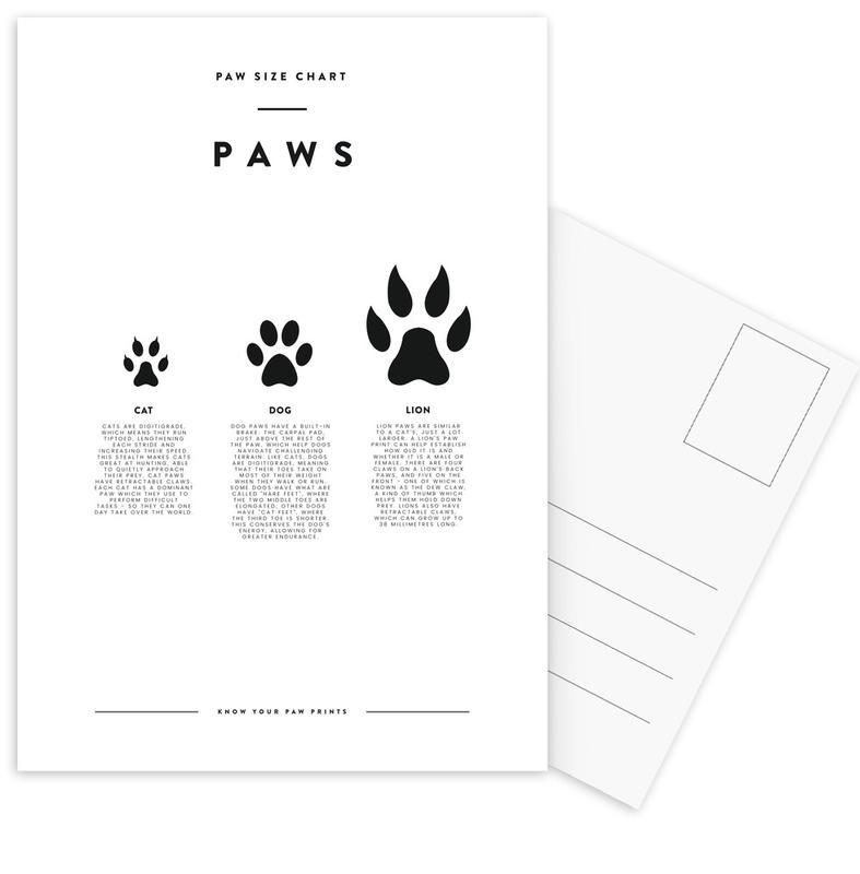 Animal sizing chart -Postkartenset