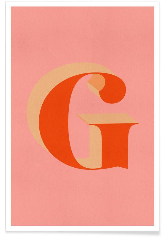 Alphabet et lettres, Red G affiche