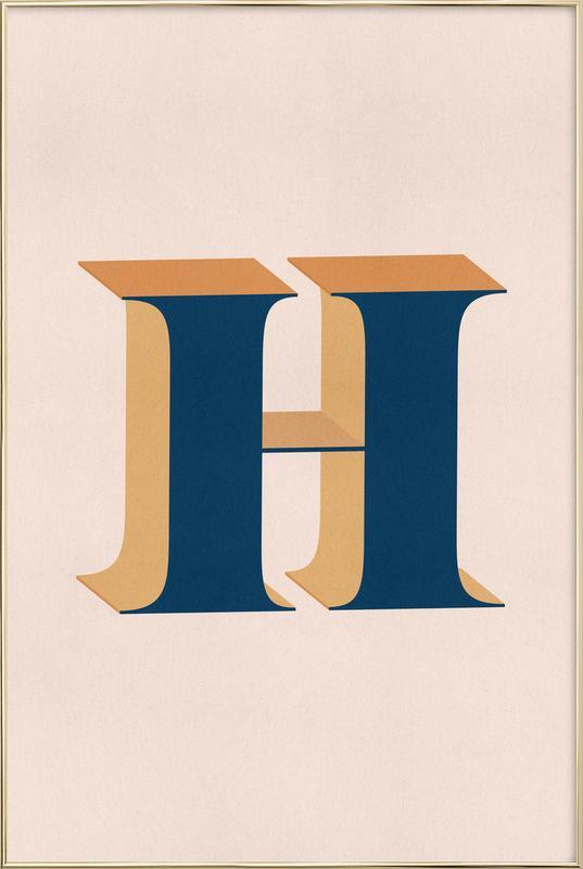 Blue H Poster i aluminiumram