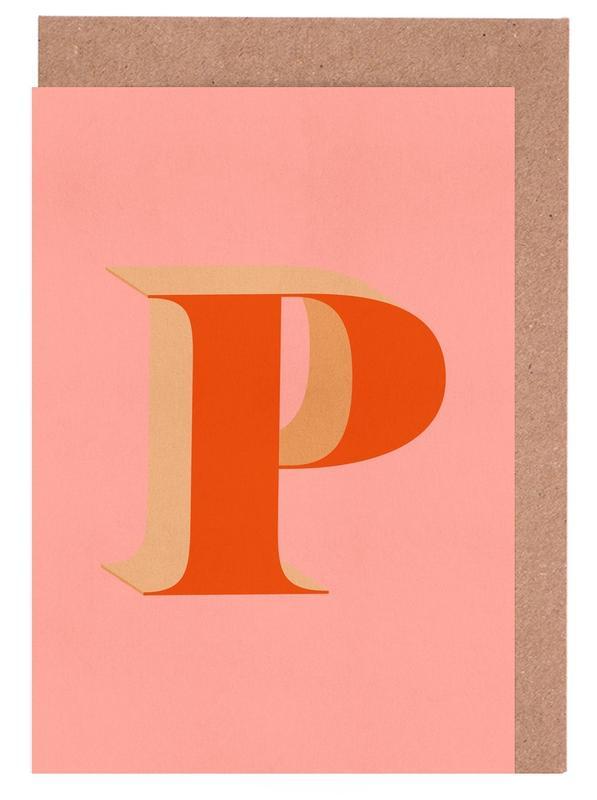 Red P Greeting Card Set