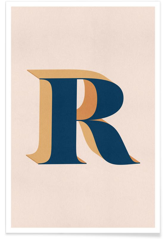 Alfabeto & lettere, Blue R poster