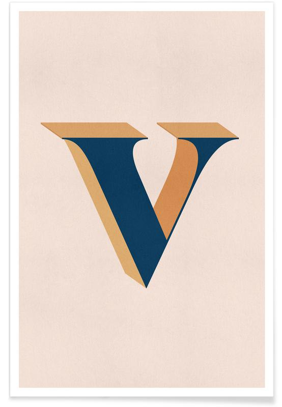 Abecedario y letras, Blue V póster
