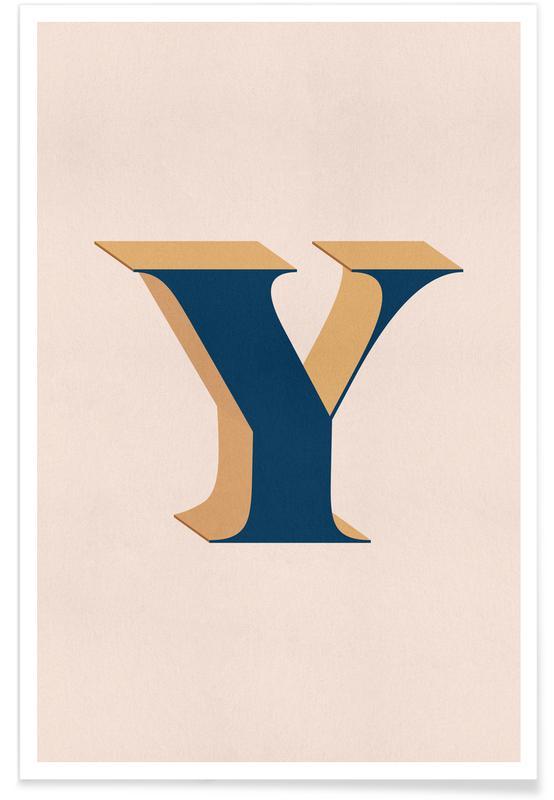 Alfabet og bogstaver, Blue Y Plakat
