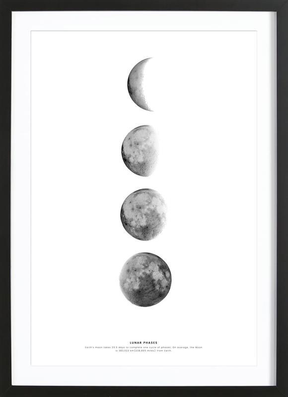 Phases of the Moon affiche sous cadre en bois
