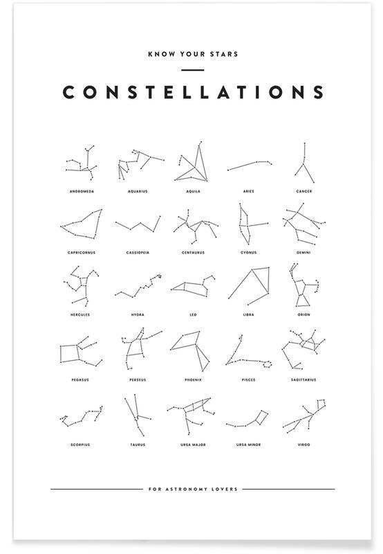 Noir & blanc, Carte des constellations affiche