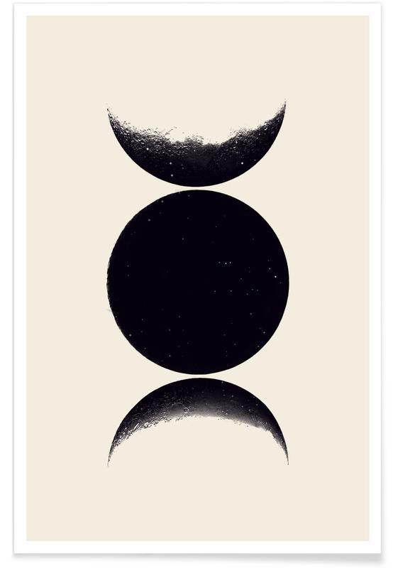 Luna, Blanco y negro, Monochrome Moon póster
