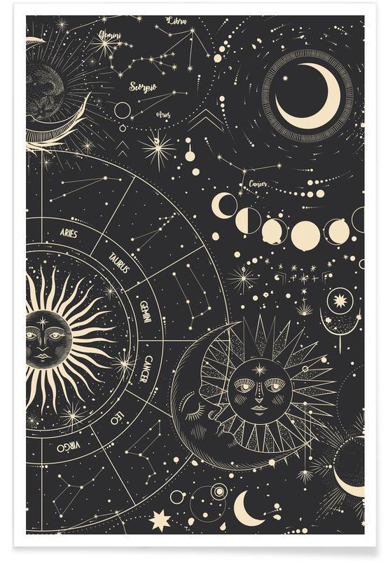 , Astrology Wheel Plakat