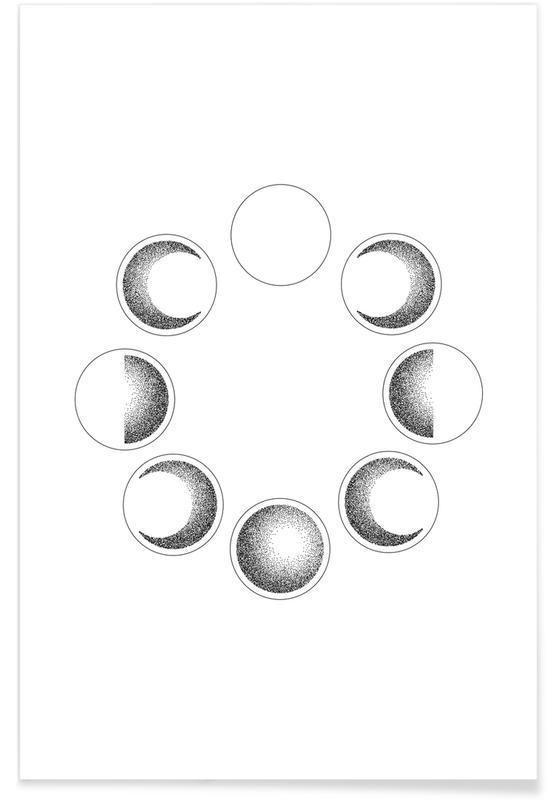 Måne, Sort & hvidt, Lunar Phases Plakat