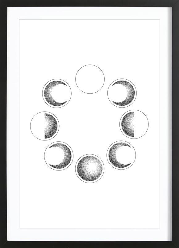 Lunar Phases Poster i träram