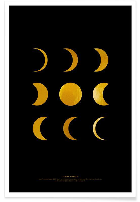 Måne, Lunar Phases Guld Plakat
