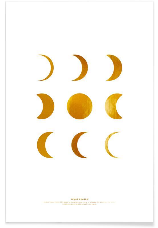 Måne, Lunar Guld Plakat