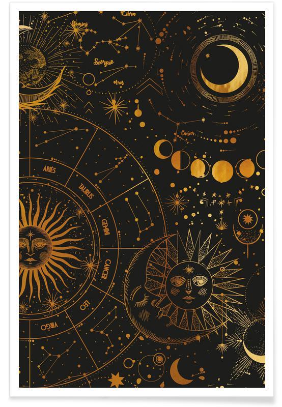 , Astrology Wheel Guld Plakat