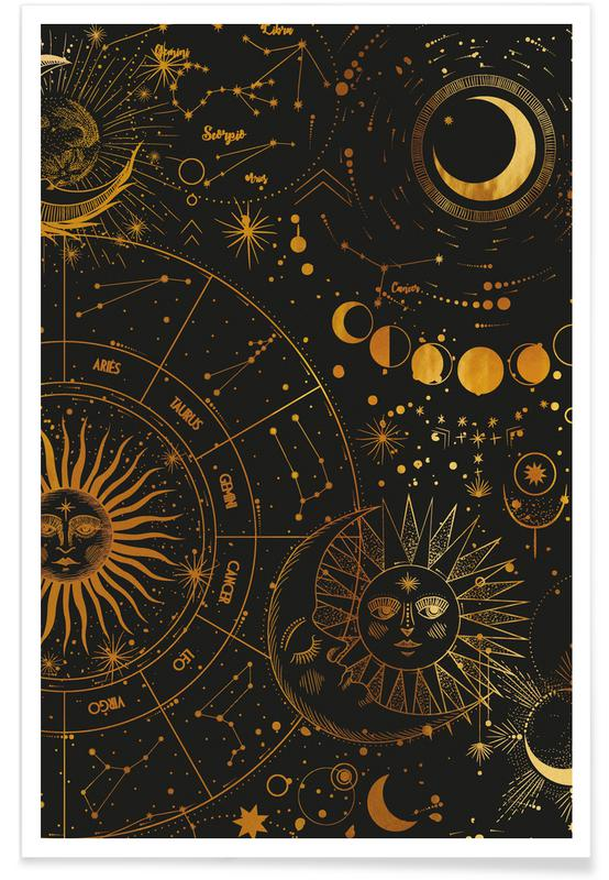 Gold Astrology Wheel Poster