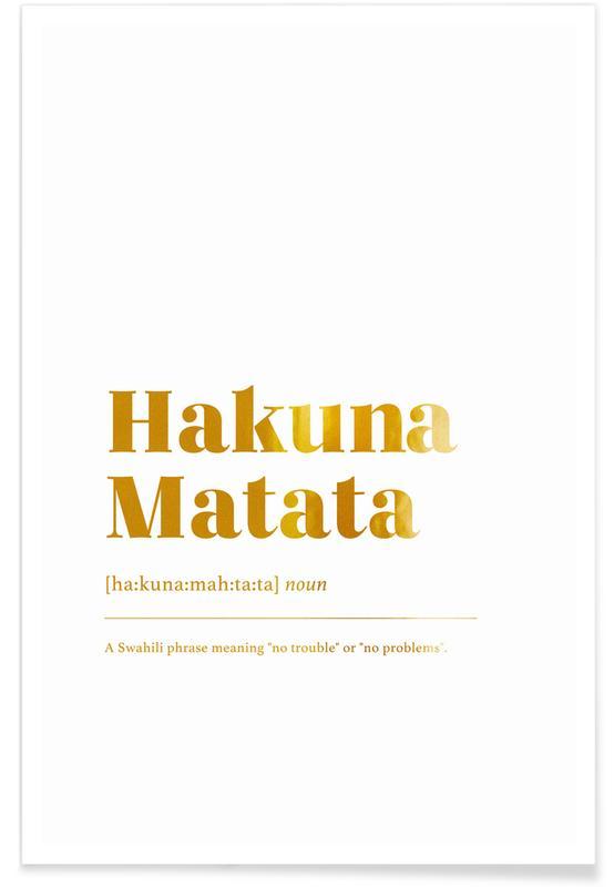 Motivational, Movies, Gold Hakuna Matata Poster