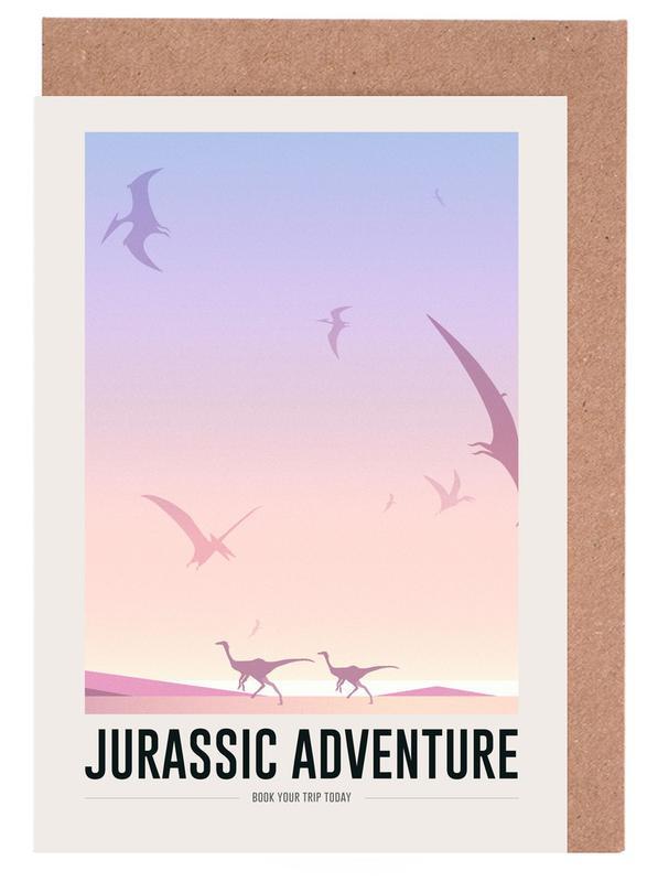Kinderzimmer & Kunst für Kinder, Dinosaurier, Jurassic Adventure II -Grußkarten-Set
