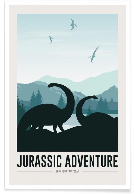 Art pour enfants, Animaux de safari, Jurassic Adventure I affiche
