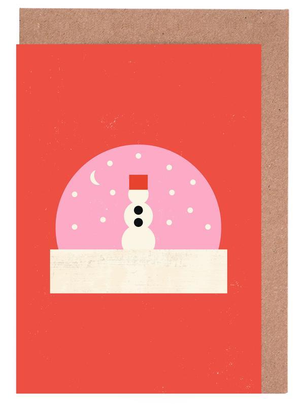 Weihnachten, Kinderzimmer & Kunst für Kinder, Snowman Snowglobe -Grußkarten-Set