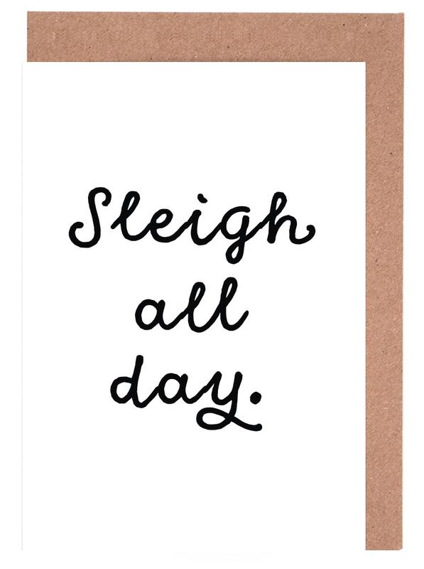 Black & White, Sleigh Greeting Card Set