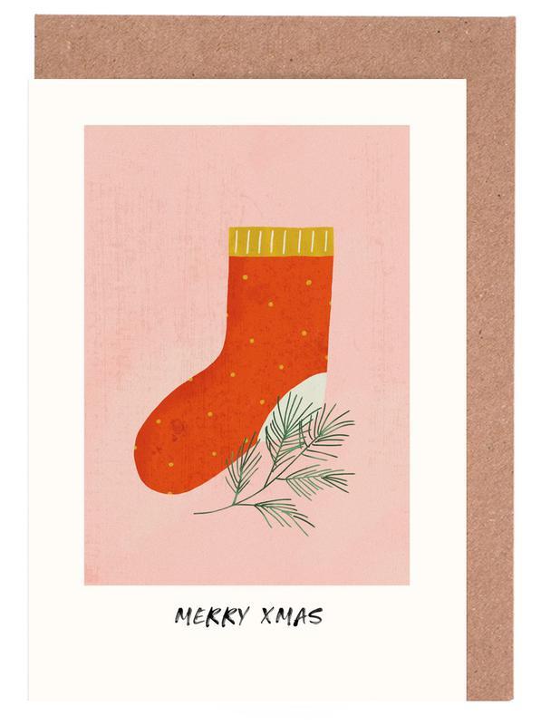 Weihnachten, Kinderzimmer & Kunst für Kinder, Stocking -Grußkarten-Set